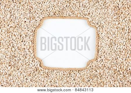 Figured Frame Made Of Rope With  Sunflower Seeds  Lying On A White Background