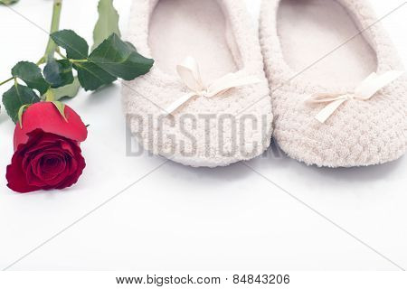Rose And Plush Slippers