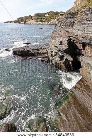 Rocky cliff along famous Newport cliff walk