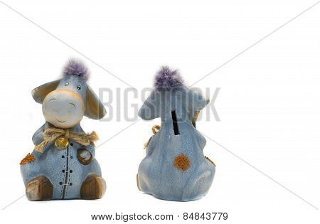 Funny Donkey Bank Toys  Isolated On White