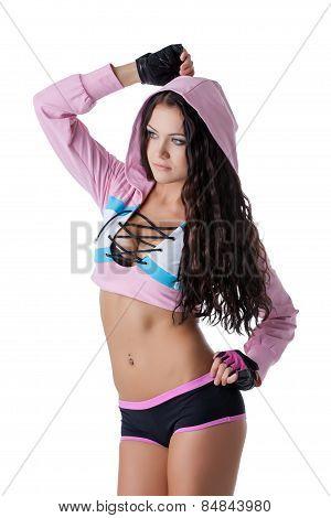 Beautiful gray-eyed athletic girl posing at camera