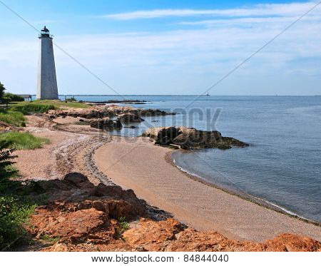 Five Mile Lighthouse in New Haven on a beach