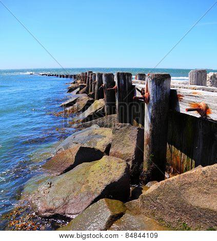 A beach groin providing protection against erosion