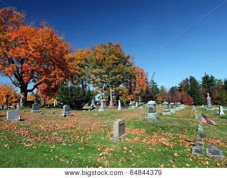Beautiful country graveyard during the fall season