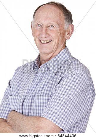 Happy senior male studio portrait on white background