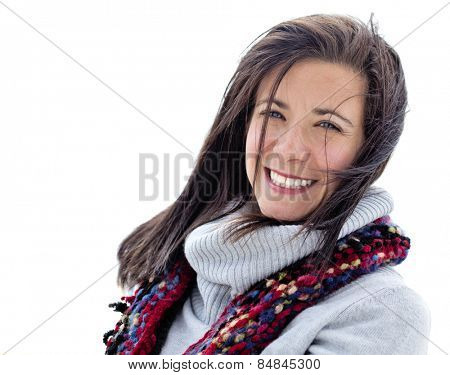 Pretty woman face isolated on white background