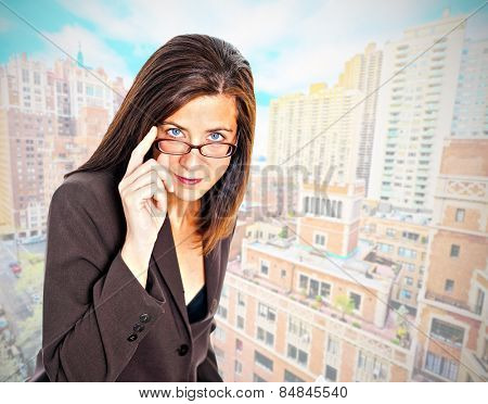 Business woman with Manhattan New York buildings background