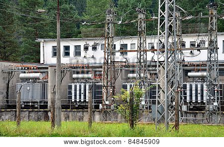 high-voltage substation and transformers