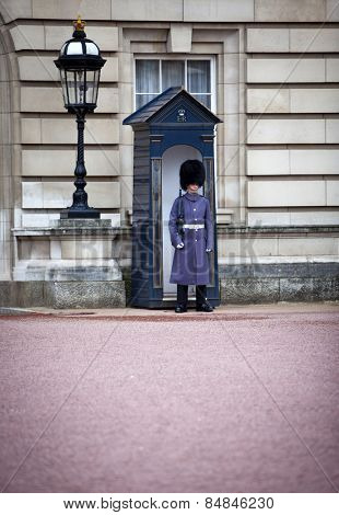 LONDON, ENGLAND FEB 17: Soldier on guard duty outside Buckingham Palace on Feb 17, 2012 in London, United Kingdom.