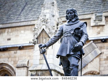 Oliver Cromwell - Statue in front of Palace of Westminster (Parliament), London, UK