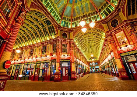LONDON, ENGLAND FEB 13:The famous Leadenhall market which dates back to the 14th Century on Feb 13, 2012 in London, United Kingdom.
