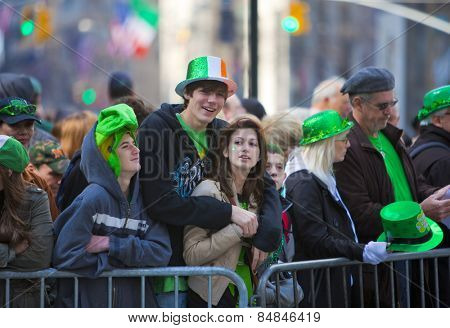 NEW YORK, NY, USA MAR 17: Crowds of people gather to celebrate at the St. Patrick's Day Parade on March 17, 2012 in New York City, United States.