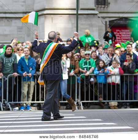 NEW YORK, NY, USA - MAR 17:  New York State Senator Charles Schumer at the St. Patrick's Day Parade on March 17, 2012 in New York City, United States.