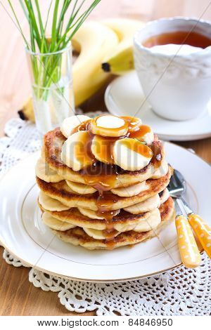 Pile Of Banana Pancakes