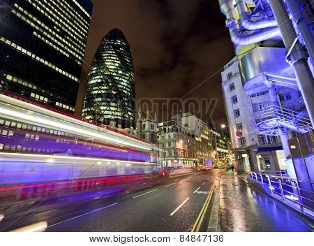 LONDON, ENGLAND FEB 13: Famous Gherkin building and Lloyds Building on Feb 13, 2012 in London, United Kingdom.