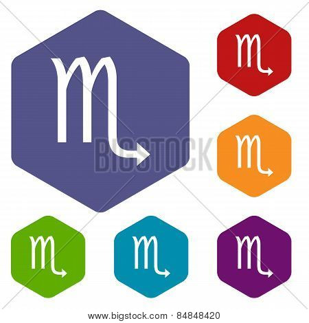 Scorpio rhombus icons