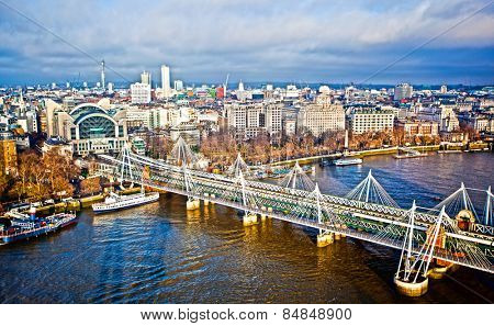 Hungerford Bridge over the River Thames in London
