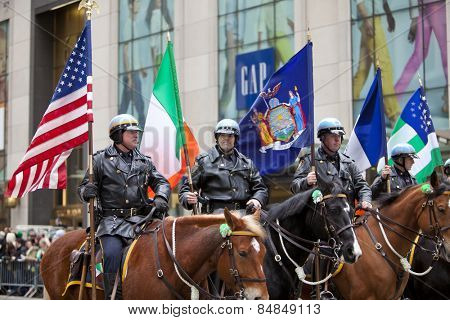 NEW YORK, NY, USA - MAR 16:  Police Department at the St. Patrick's Day Parade on March 16, 2013 in New York City, United States.