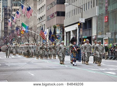 NEW YORK, NY, USA - MAR 16:  Soldiers at the St. Patrick's Day Parade on March 16, 2013 in New York City, United States.