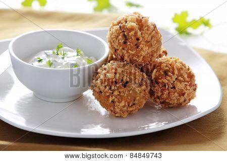 Fried Crispy Zucchini And Feta Balls