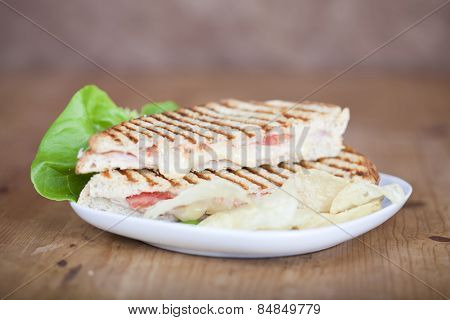Fresh toasted panini cheese and ham sandwich with grill marks