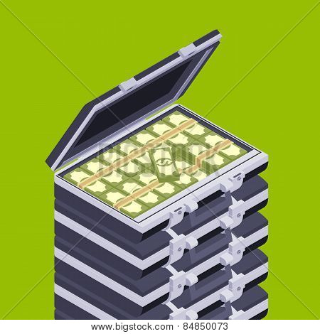 Isometric open briefcase with the money