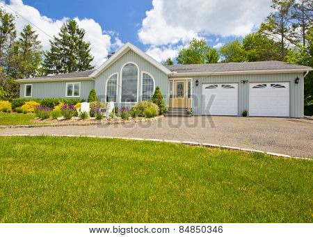 Suburban house exterior in generic colonial style