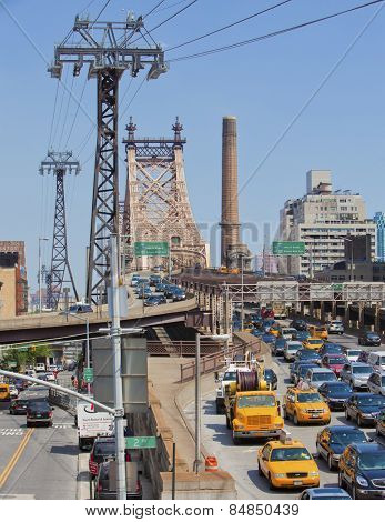 NEW YORK CITY - JUNE 28th: The famous Ed Koch Queensboro Bridge in rush hour in New York on June 28th, 2012 in Manhattan, New York City.