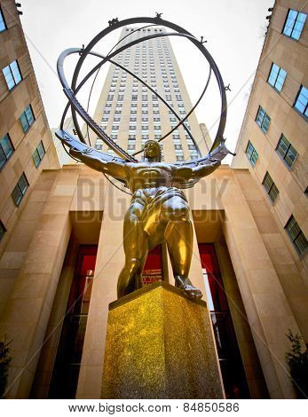NEW YORK - APRIL 17: The famous Atlas statue on 5th Avenue outside the GE Rockefeller Building in New York City on April 17th, 2011 in New York, NY, USA.