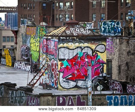 Graffiti on apartment buildings in New York