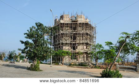 Bamboo is used for scaffolding in the construction of buildings in Asia