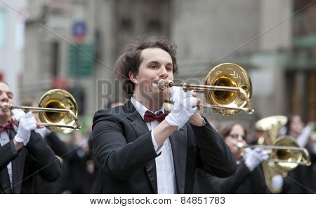 NEW YORK, NY, USA - MAR 16:  Band at the St. Patrick's Day Parade on March 16, 2013 in New York City, United States.