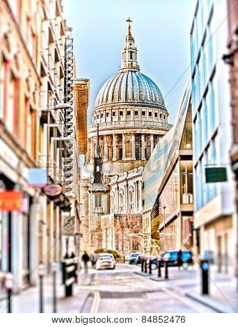 St Paul's Cathedral at the end of a street in London