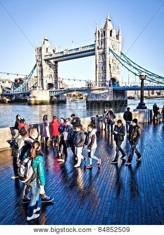 LONDON, UNITED KINGDOM - DEC 29. Tower Bridge, the busy iconic River Thames crossing suspension bridge built between 1886 and 1894; December 29, 2013 in London, UK.