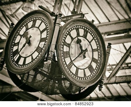 Large decorative clock with vintage filters added
