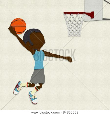 Felt Basketball Player Dunking