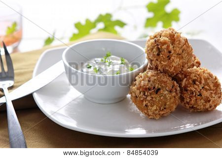 Fried Crispy Zucchini And Feta Balls