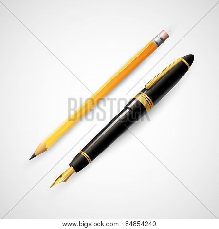 Pencils and pens. Vector illustration