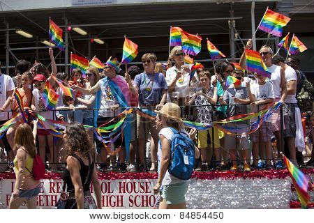 NEW YORK, USA - JUNE 29th 2014: The New York City Pride March commemorating the gay rights movement.