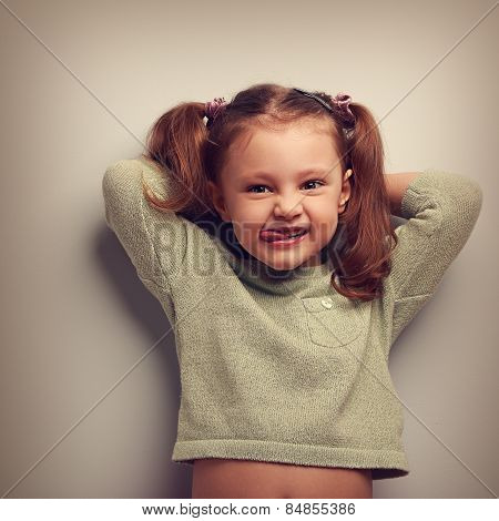 Happy Kid Girl With Natural Emotion In Fashion Blouse. Vintage Portrait