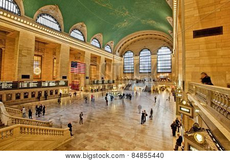 NEW YORK, USA - NOVEMBER 13th, 2014: The interior of New York's Grand Central station full of commuters long exposure.