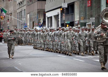 NEW YORK, NY, USA - MAR 17, 2014: The annual St. Patrick's Day Parade along fifth Avenue in New York City.