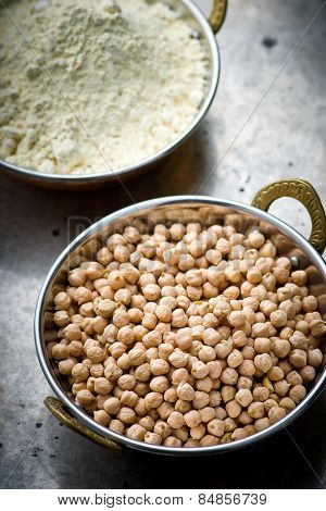 Dry Chick-pea In The Indian Copper Bowl