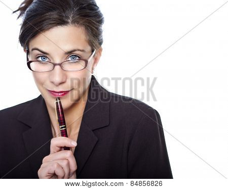 Pretty business woman with suggestive look in studio