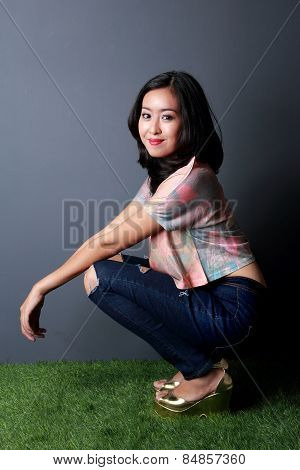 Beautiful Stylish Woman Posing