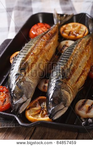 Sea Fish Grilled Mackerel And Vegetables Closeup. Vertical