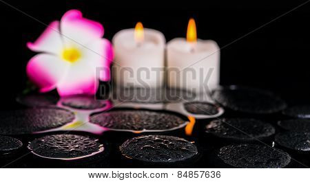 Beautiful Spa Background Of Zen Basalt Stones With Drops, Candles And Plumeria Flower On, Panorama