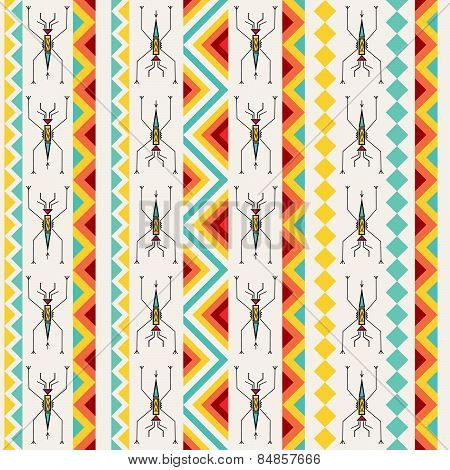 Tribal Seamless Pattern With Abstract Pond-skaters