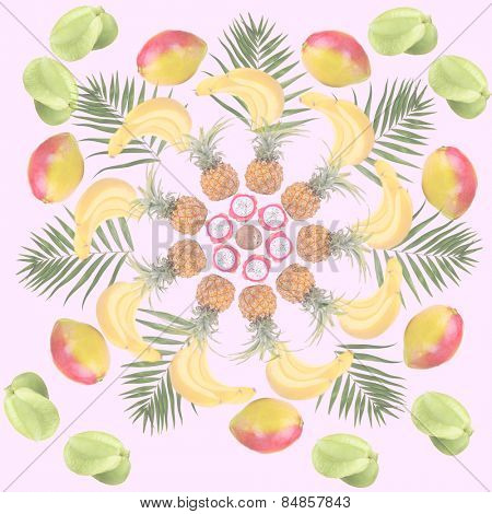 Tropical background with mangoes, carambolas, pineapples, bananas, dragonfruits and green palm leaves