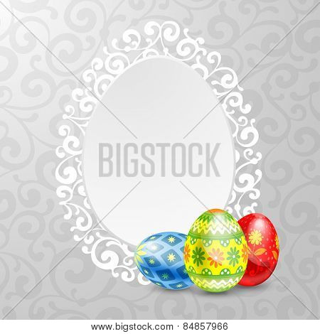 Elegant background for easter greeting with luxury decor and painted eggs